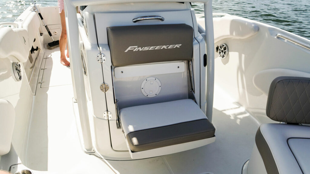 finseeker center console flip down bench
